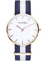 レディース腕時計 おしゃれな女性用KUXIEN クラシッククォーツ時計シンプルファッションデザイン ユニセックス フォーマルステンレ腕時計 ナイロン ベルトタイプ