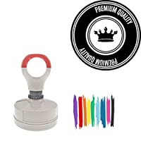 Premium Quality Crown Illustration Round Badge Style Pre-Inked Stamp, Light Blue Ink Included
