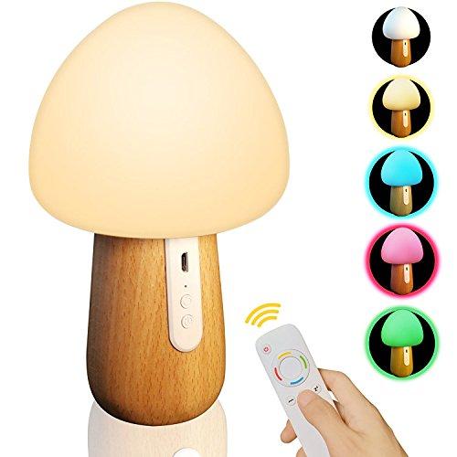 LED ナイトライト, MJDUO インテリアライト キノコ形 ベッドサイド ライト 色温度・明るさ調整可能 USB充電 木目調 シリコーンナイトライト 子供安全素材 授乳用 寝室用 携帯便利