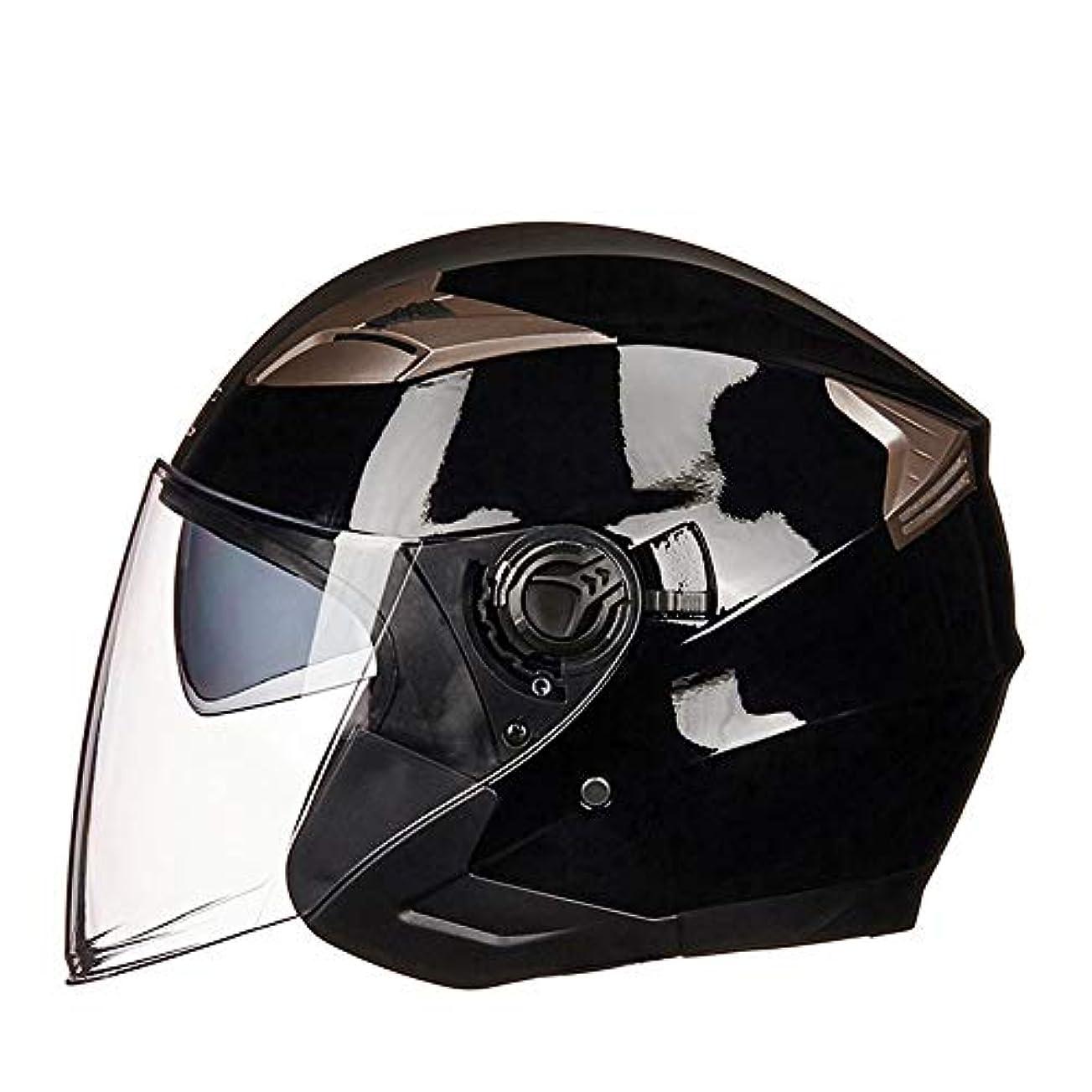 ラベ人弁護士ZXF 電動二輪車用ヘルメットバッテリー車二重レンズハーフヘルメット夏半カバーヘルメット四季個性レトロ 安全 (Size : L)