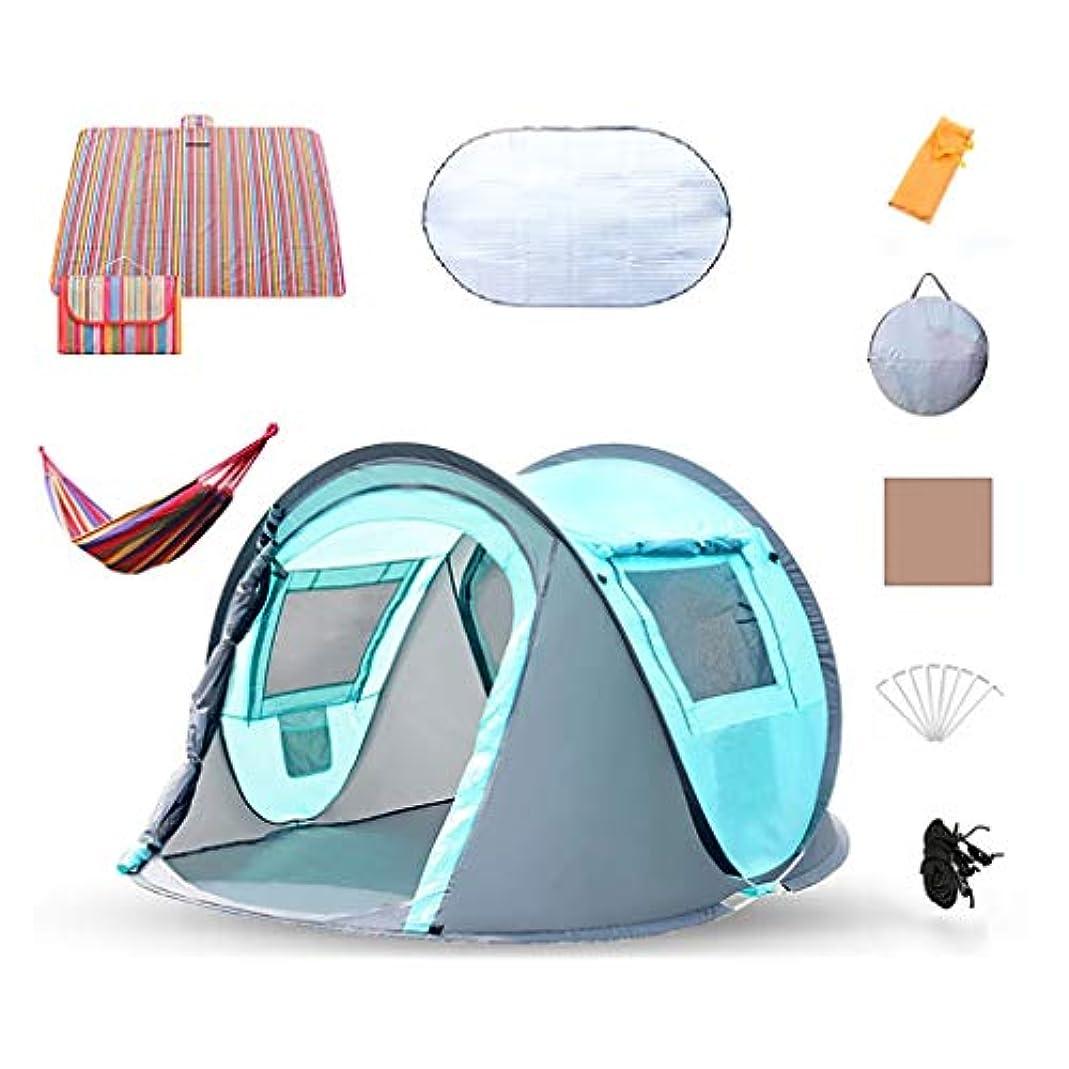 負担プレゼンター路面電車100%防水ファミリーキャンプテント自動インスタントポップアップキャンプシェルタービーチテント3-4人屋外テント防風キャビンテントハイキング旅行のセットアップが簡単折りたたみ式 (Color : Blue)