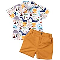 No non-never Toddler Baby Boy Clothes Short Sleeve Shirt Button Down Dinosaur Top Short Pants Summer Outfits Set