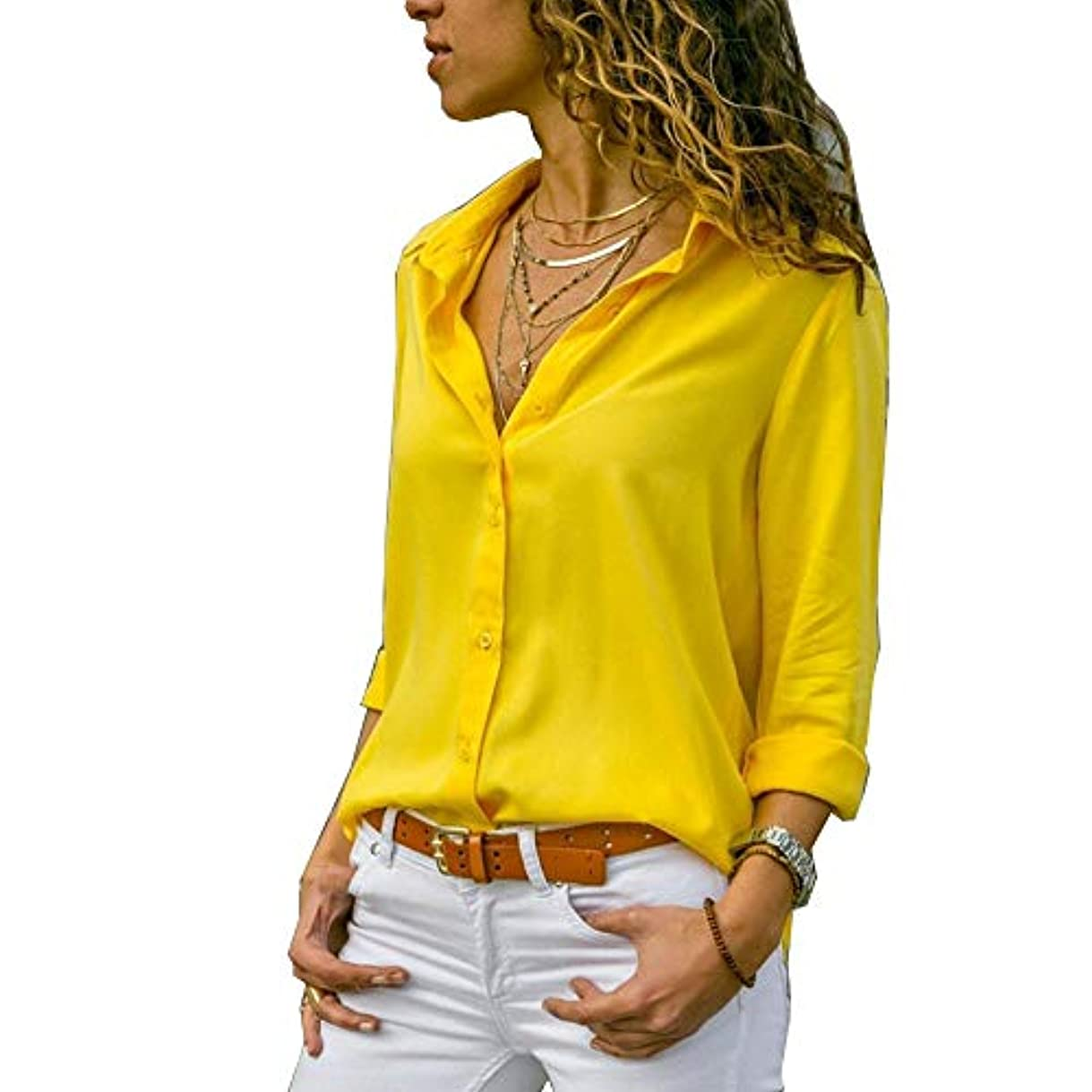 少ないステンレス紳士気取りの、きざなMIFAN ルーズシャツ、トップス&Tシャツ、プラスサイズ、トップス&ブラウス、シフォンブラウス、女性トップス、シフォンシャツ