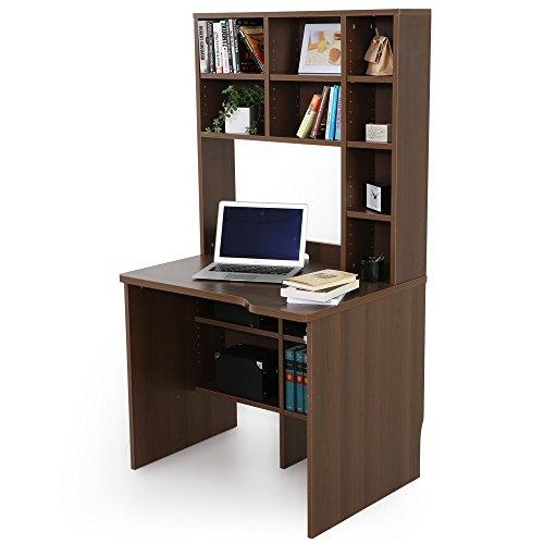 LOWYA (ロウヤ) デスク 机 パソコンデスク 木製 大容量 収納 本棚 足元収納 コンセント 2口 幅85 ウォルナット 新生活