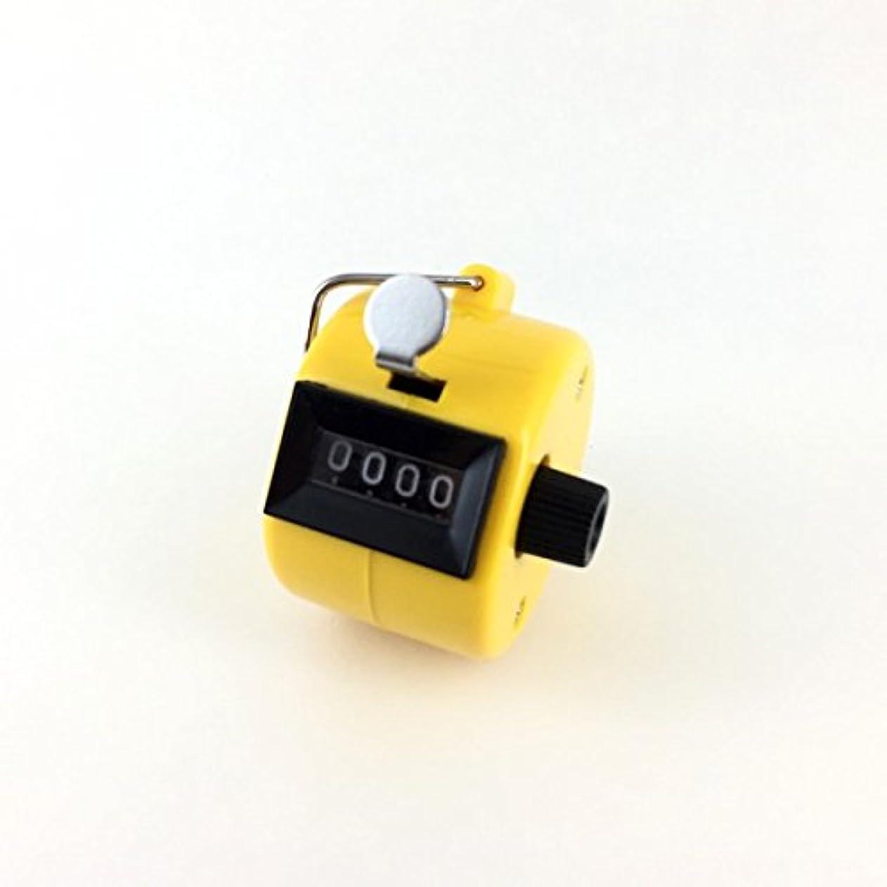 ヒューズ全能作成者エクステカウンター 手持ちホルダー付き 数取器 まつげエクステ用品 カラー4色 (イエロー)