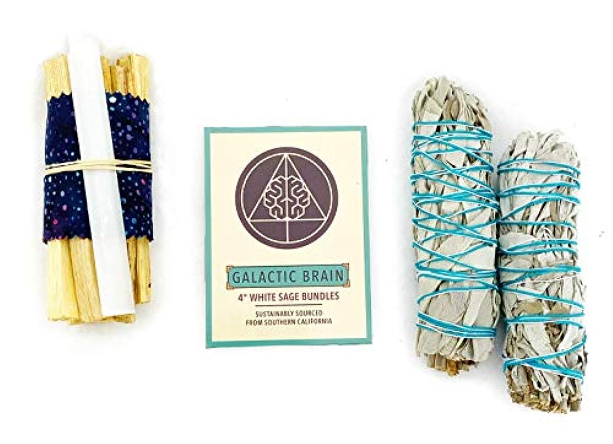 ペダルコックコックGalacticBrain 4インチ カリフォルニアホワイトセージスマッジバンドル/スマッジスティックキット ご自宅をきれいにしましょう。 瞑想/ヨガの練習を強化。 振動を上げましょう。 パロサントスティック 2本 セレナイトクリスタル