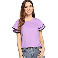 Floerns Women's Layered Ruffle Lace Trim Short Sleeve Blouse Tops