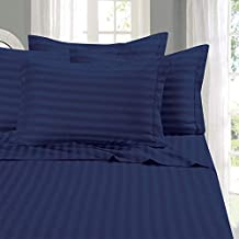 Elegant Comfort Best, Softest, Coziest 6-Piece Sheet Sets! - 1500 Thread Count Egyptian Quality Luxurious Wrinkle Resistant 6-Piece Damask Stripe Bed Sheet Set, King Navy Blue
