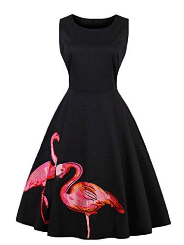 夏 超綺麗 レディース 花 蝶 ノースリーブ ワンピース セクシー 復古 ファスナー ドレス 魅力的   (XL, ブラック)