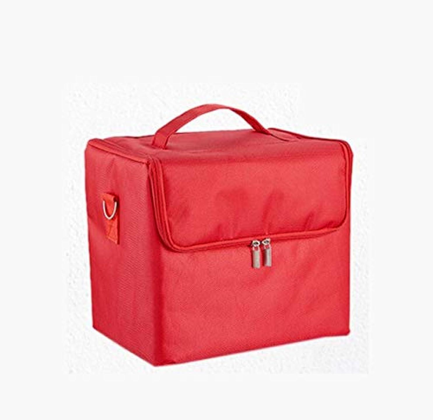 パノラマ確認ステープル化粧箱、大容量多機能防水化粧品ケース、携帯用旅行化粧品袋収納袋、美容化粧ネイルジュエリー収納箱 (Color : Red)
