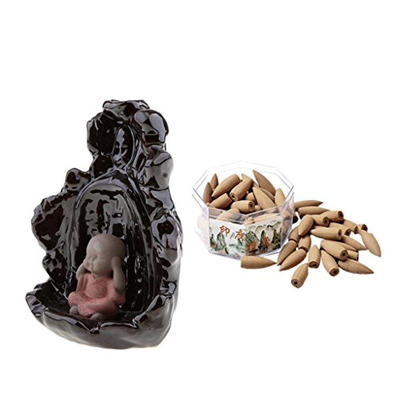 モンキー乱れ補助金monkeyjack手作り磁器セラミック煙逆流香炉Monk Statue Censer + 70 Conesインドお香炉