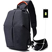 Wukong Mens Canvas Shoulder Bag Chest Crossbody Bag With USB Charing Port