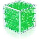 Findbetter 立体迷路 3d 迷路 パズル おもちゃ 密閉安全 キューブ型 立体迷路ゲーム こども 脳トレ 知育玩具 6面完成 色の暗示 辛抱強い養成 手と脳同時 60x60x60mm (クリアグリーン(楽観積極))