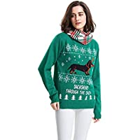 MyMei Women's Dachshund Through The Snow Ugly Christmas Long Sleeve Sweater Pullover Jumper