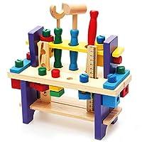 M MOOHAM 木製建設おもちゃ - 木製建設用パウンドベンチ デラックスツールキット 幼児用作業ベンチ マレット付き 3歳以上のお子様向け ブルー MMDD12