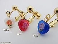 [ルクールロゼ]le coeur rose 繊細なバラの絵画にぷっくりなハートビーズのイヤリング【ばら】【薔薇】 ブルー