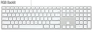 Matias RGB Backlit Wired Aluminum keyboard USB接続 MAC配列/英語配列 有線タイプ シルバー FK318LS