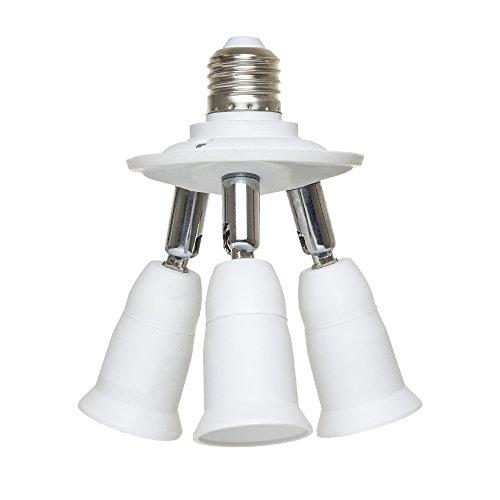 RoomClip商品情報 - LED電球専用 口金アダプター 3分岐ソケット E26→E26 照射角度可調 E26延長ソケット 電球なし
