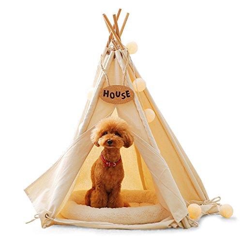 LOWYA (ロウヤ) ペットテント ペット 五角形 ティピーテント 犬小屋 ペットハウス 室内テント ホワイト
