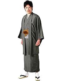 [キョウエツ] 着物セット 洗える 紬生地 袷 アンサンブル6点セット(袷着物、羽織、襦袢、角帯、羽織紐、腰紐) メンズ