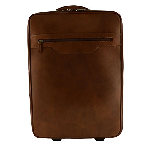 Made In Italy Leather Trolley With Outside And Inside Pockets Color Brown - Travel Bag