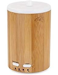アップグレードされたリアル竹ディフューザー超音波ディフューザークールミスト加湿器断続的な連続ミスト2作業モードウォーターレスオートオフ7色LEDライト (Color : Bamboo)