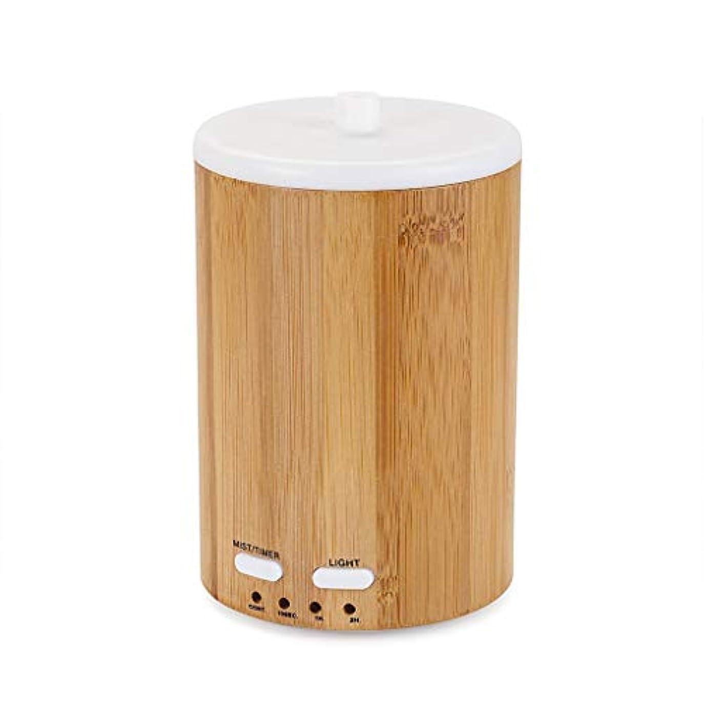 夏広げる成熟したアップグレードされたリアル竹ディフューザー超音波ディフューザークールミスト加湿器断続的な連続ミスト2作業モードウォーターレスオートオフ7色LEDライト (Color : Bamboo)