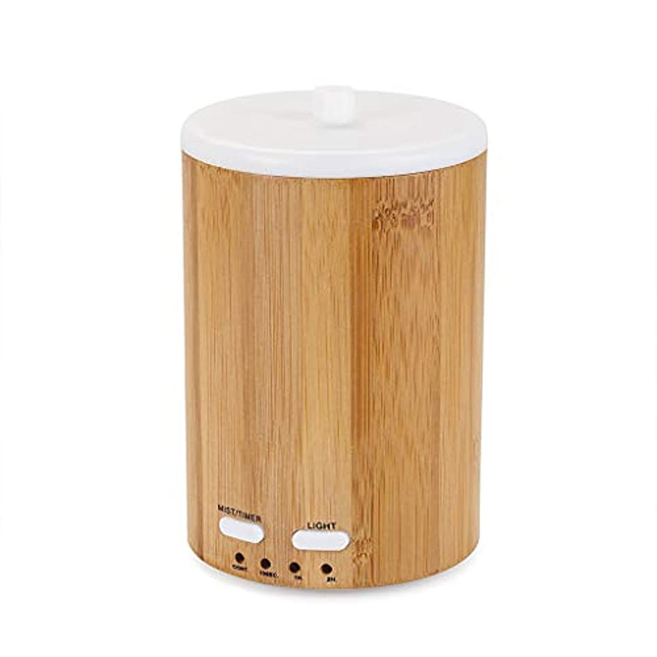 ステンレス失業好ましいアップグレードされたリアル竹ディフューザー超音波ディフューザークールミスト加湿器断続的な連続ミスト2作業モードウォーターレスオートオフ7色LEDライト (Color : Bamboo)