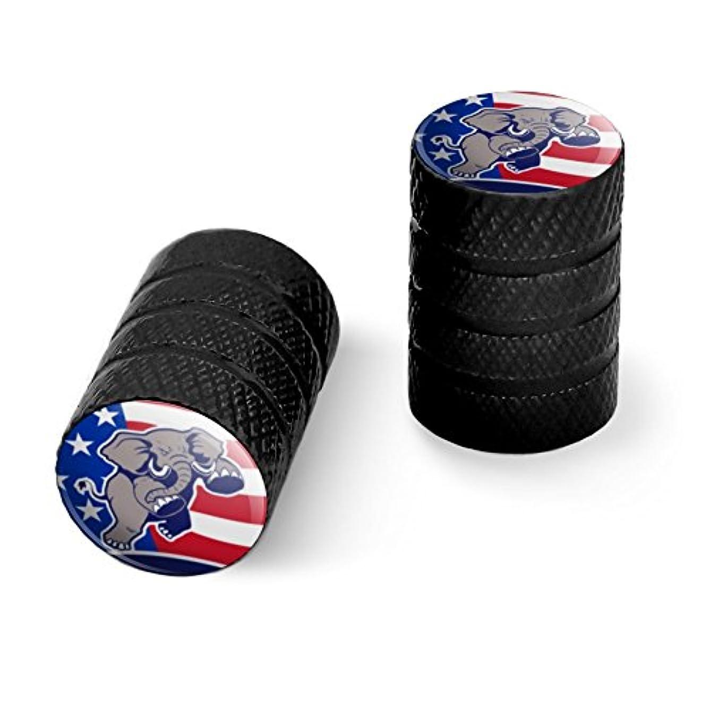 電気第四友情怒っている共和党の象の政治GOPアメリカの旗オートバイ自転車バイクタイヤリムホイールアルミバルブステムキャップ - ブラック