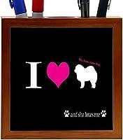 Rikki Knight I Love My Chow-Chow Dog Design 5-Inch Wooden Tile Pen Holder (RK-PH8518) [並行輸入品]