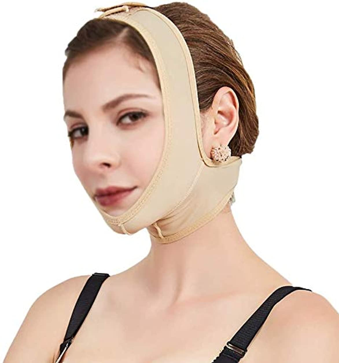 何か騙すラッチ美しさと実用的な顔と首のリフトポストエラスティックスリーブ下顎骨セット顔アーティファクトV顔顔面バンドルダブルチンマスク(サイズ:L)