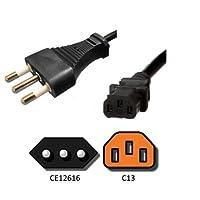 AC電源コードイタリアce123–16to c13–3メートル、10A、240V、h05vvケーブル–Ironボックスパーツ# ibx-26155–3M