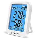 Bodyguard デジタル 温湿度計 室内 時計 最高最低温湿度表示 タッチスクリーン カレンダー機能付き アラーム 温度計 湿度計 マグネット付 置掛兼用 ホワイト