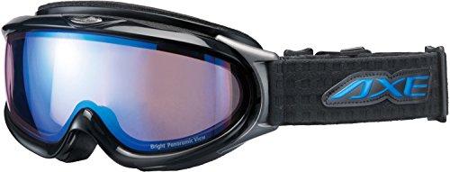 AXE(アックス) スキー・スノーボードゴーグル UVカット メンズ ハイコントラスト ブルーミラーレンズ ブラック AX888-WBU