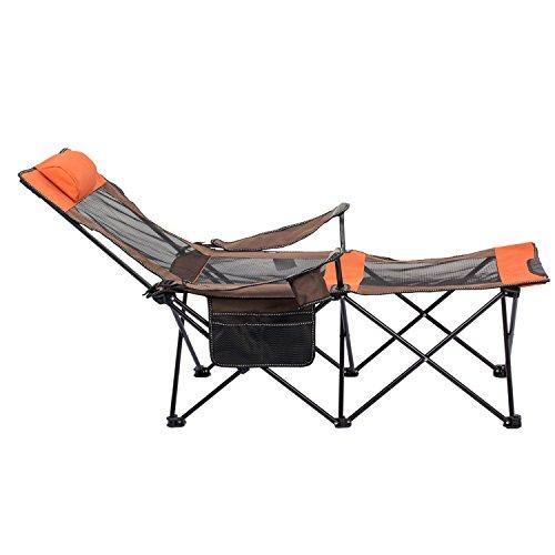 【2018年最新改良版】ALLCAMP アウトドアチェア ラウンジチェア ドリンクホルダー付 枕付き 折りたたみ椅子 キャンプ用品 ハイバックタイプ (オレンジ)