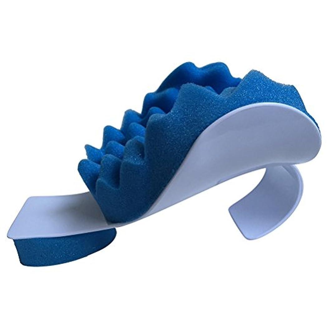 縮約蓮設置ROSENICE マッサージ枕ネック痛みリリーフとショルダーリラクサーマッサージトラクションピロー(ブルー)