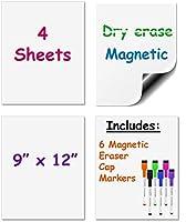 乾燥消去磁気シート9-inch X 12-inchのセット4–With 6鮮やかな磁気Colored Markes。セットIncludes 4ホワイト・ボード9x 12インチと6Markes。