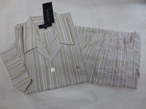 パジャマ 紳士 半袖 L  ストライプ ホースマーク刺繍 日本製 バーバリー・ロンドン