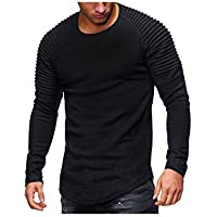 Hirate Men's Pleated Casual Long Sleeve T-Shirt Solid Color Fold Round Neck
