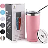 Sivaphe 20 oz Stainless Steel Tumblers with 2 Splash Proof Lids, Straw and Brushes, Double Wall Vacuum Insulated Coffee Travel Mug (Pink)