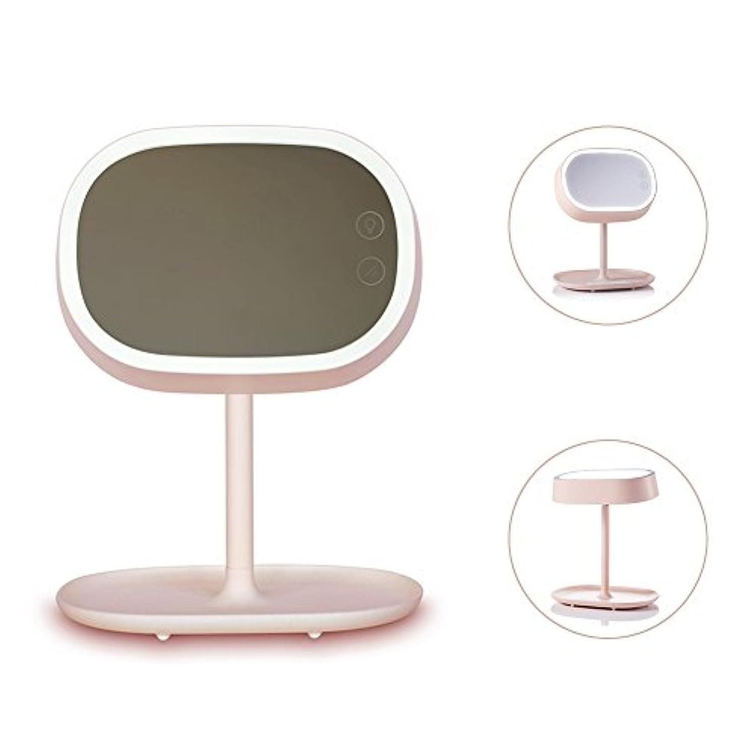 Ichic 卓上LED化粧鏡 メイクミラー ベッドサイドランプ 180度回転 明るさ調節可能 USB充電