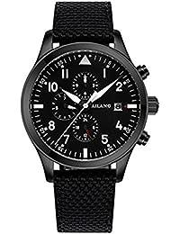 ブラックファブリックWatchハイエンド自動Mechanical WatchesスイスWave Military Pilots Belt