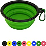 Zenify Dog Bowl - 400ml Collapsible Foldable Food and Water Feeder Dish - Portable Travel Leash Lead Slim Accessories for Training Pets Puppy Dogs (5 inches / 12.7 cm) (Green/Black)