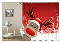 Aooaz シャワーカーテン 浴室 窓 お風呂 ポリエステル おしゃれ 撥水加工 幅*高さ:120x180CM メリークリスマス 鹿 カラフル シャワーカーテン リング付属 取付簡単
