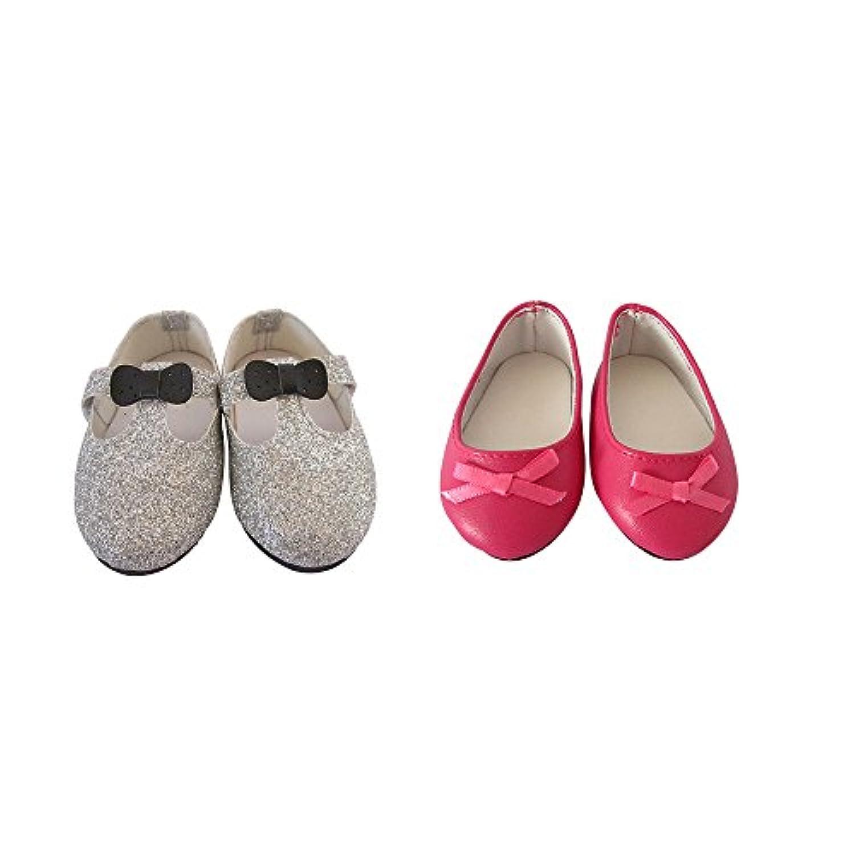ファッションフラット人形靴for 18 inch American Girl , Shinyシルバードレス靴とローズレッドダンス人形靴、パックの2ペア