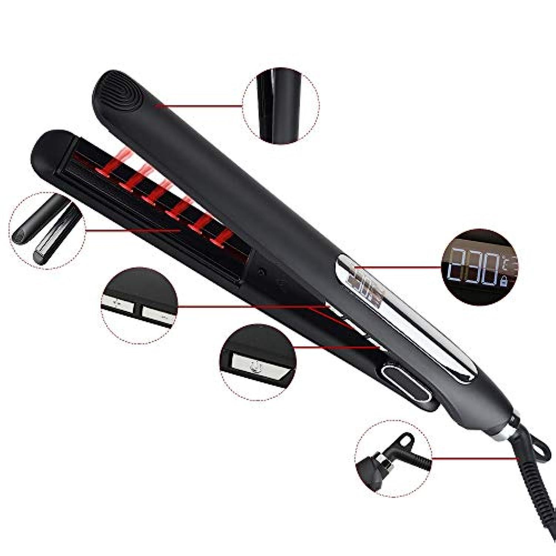 赤外線ストレートヘアアイロンセラミック電気スプリント、2ストレートヘアアイロン、カーリングアイロン モデリングツール (色 : 黒)
