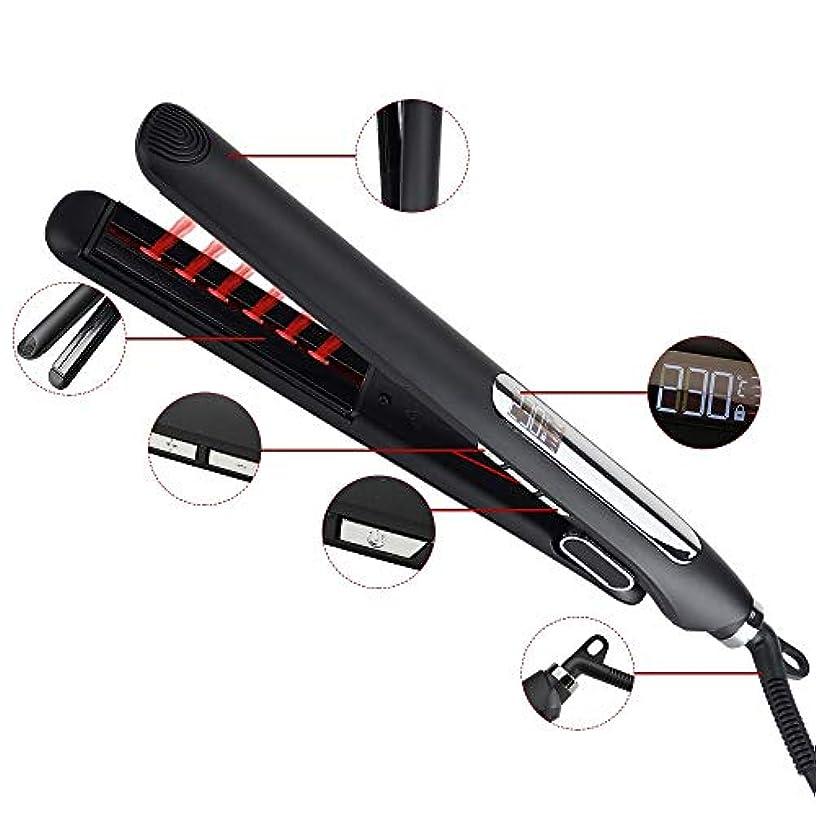 バルク小さなズーム赤外線ストレートヘアアイロンセラミック電気スプリント、2ストレートヘアアイロン、カーリングアイロン モデリングツール (色 : 黒)