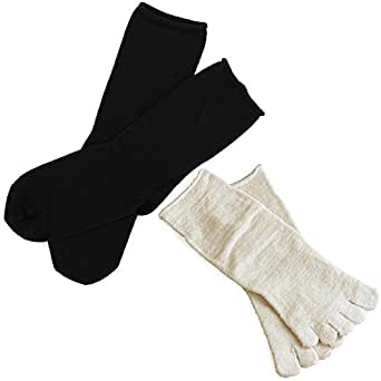 hiorie(ヒオリエ) 冷えとり靴下 内絹外綿ソックス 2足セット 5本指・カバーソックス <Mサイズ> 日本製 シルク ブラック