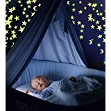 Pack of 300 Glowing Stars & Moon. Fluorescent Ceiling Stars for Kids. Glow in The Dark Stars and Moon Set for Bedrooms and Nurseries by Boxiki Kids