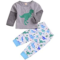 Younger Tree Newborn Baby Boy Girl Cute Outfits Dinosaur Printed Long Sleeves Shirts + Pants Clothes Sets